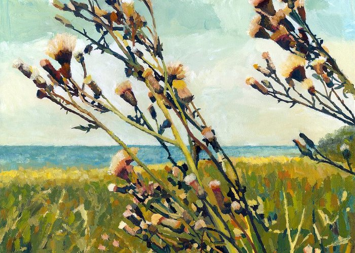Horizon Greeting Card featuring the painting Thistles On The Beach - Oil by Michelle Calkins