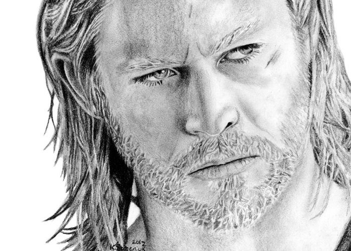 Thor Greeting Card featuring the drawing Thor Odinson by Kayleigh Semeniuk