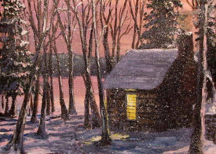 Thoreau's Cabin Greeting Card featuring the painting Thoreau's Cabin by Jack Skinner