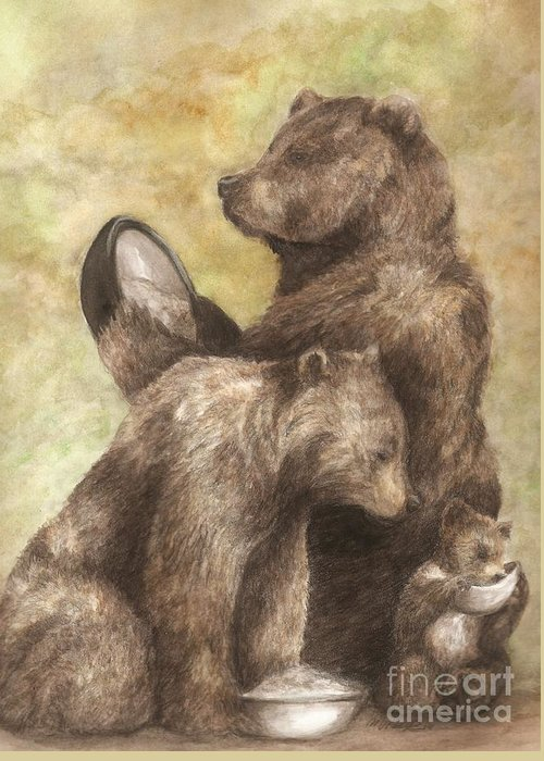 Bears Greeting Card featuring the painting Three Bears by Meagan Visser