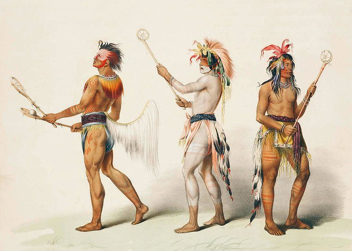 Three Indians Playing Lacrosse Greeting Card featuring the digital art Three Indians Playing Lacrosse by Unknown
