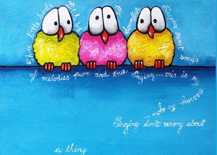 Birds Greeting Card featuring the painting Three Little Birds by Lucia Stewart