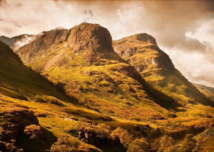 Scotland Greeting Card featuring the photograph Three Sisters. Glencoe. Scotland by Jenny Rainbow