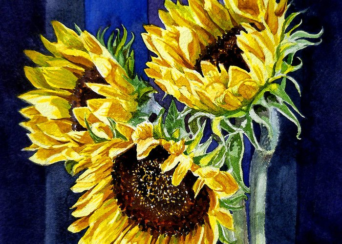 Sunflowers Greeting Card featuring the painting Three Sunny Flowers by Irina Sztukowski
