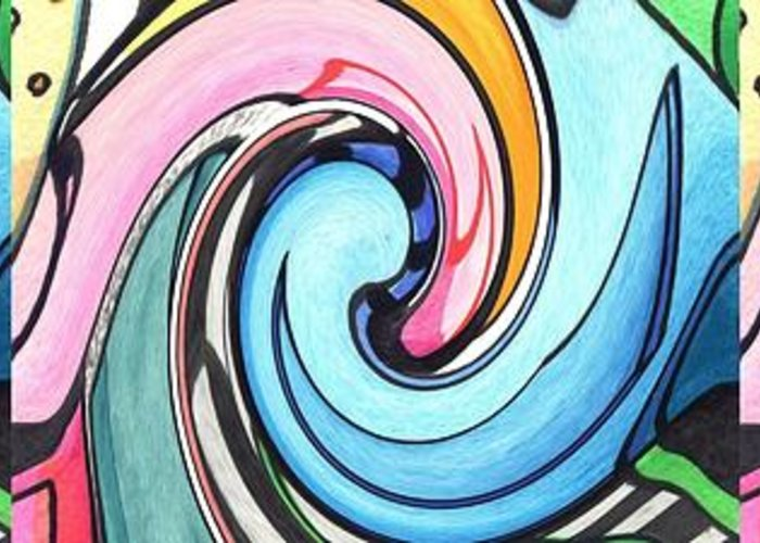 Abstract Greeting Card featuring the digital art Three Swirls by Helena Tiainen