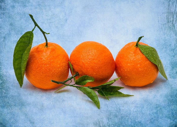 Mandarin Greeting Card featuring the photograph Three Tangerines by Alexander Senin