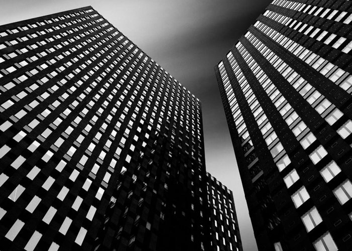 Architecture Greeting Card featuring the photograph Three Towers by Dave Bowman