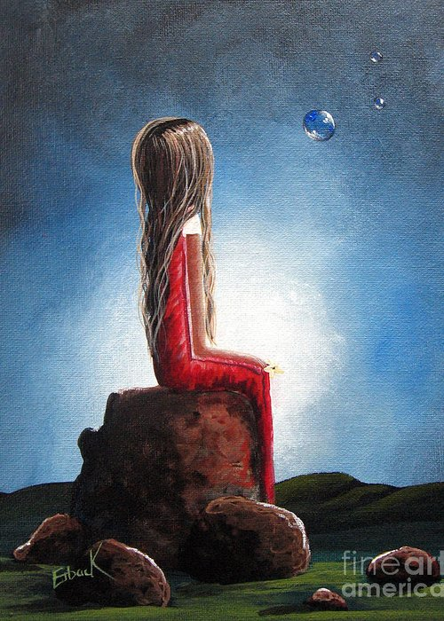 Girl Greeting Card featuring the painting Three Wishes By Shawna Erback by Shawna Erback