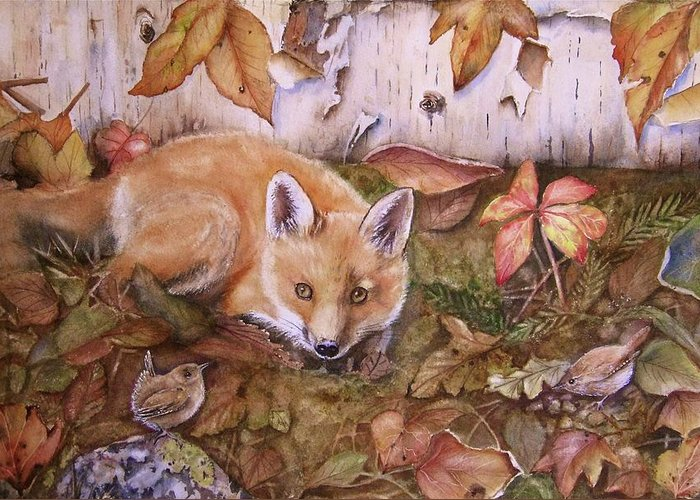 Fox Greeting Card featuring the painting Three's A Crowd by Patricia Pushaw