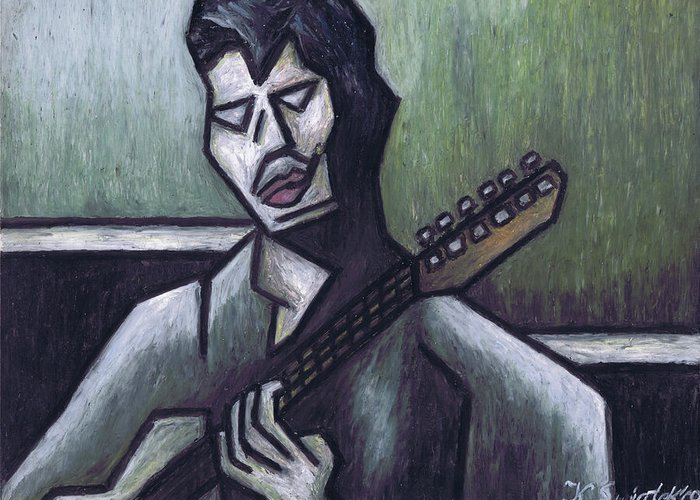 Blues Greeting Card featuring the painting Thrill Is Gone by Kamil Swiatek