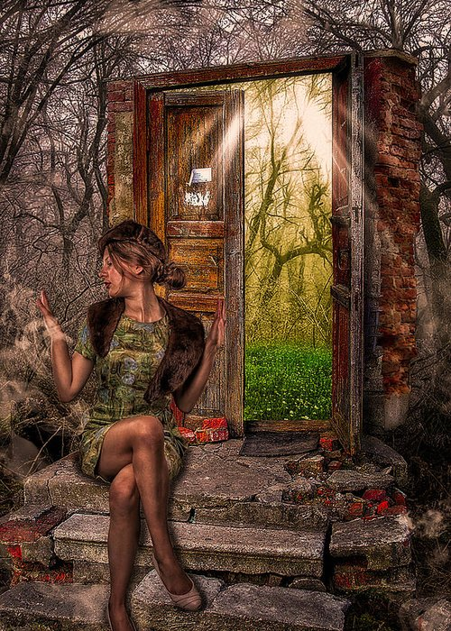 Art Greeting Card featuring the photograph Through The Forest Door by Erik Brede