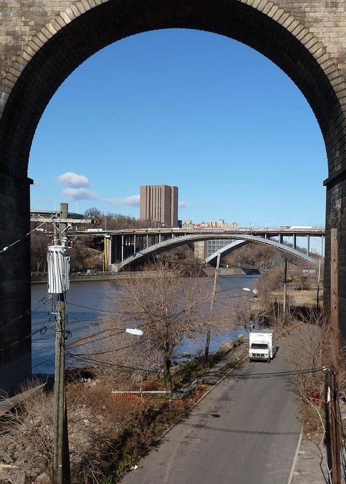 Bronx Greeting Card featuring the digital art Through The Highbridge by Steve Breslow