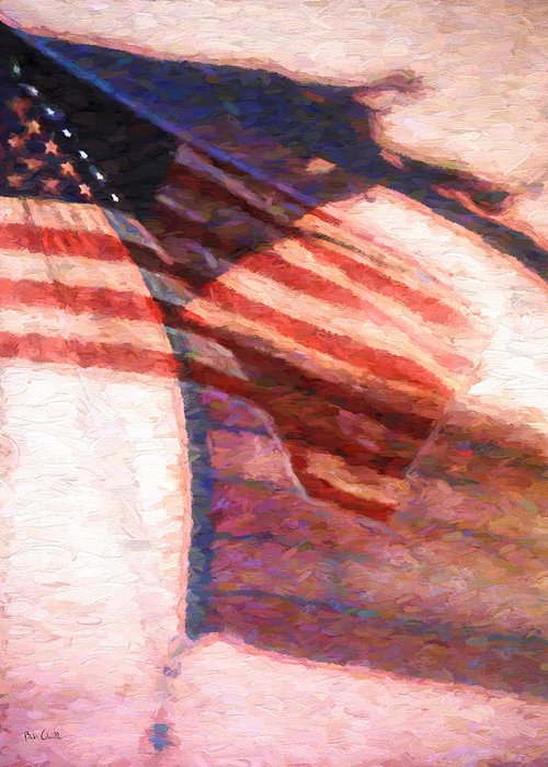 Flag Greeting Card featuring the painting Through War And Peace by Bob Orsillo