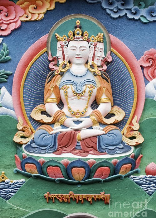 Buddha Greeting Card featuring the photograph Tibetan Buddhist Temple Deity Sculpture by Tim Gainey