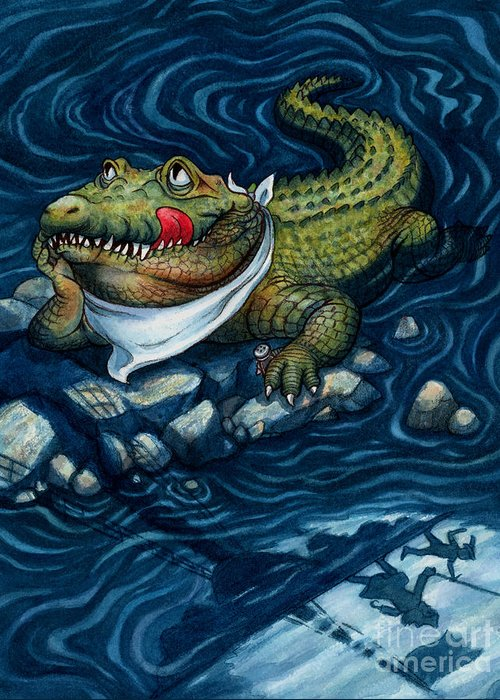 Crocodile Greeting Card featuring the painting Tick-tock Crocodile by Isabella Kung