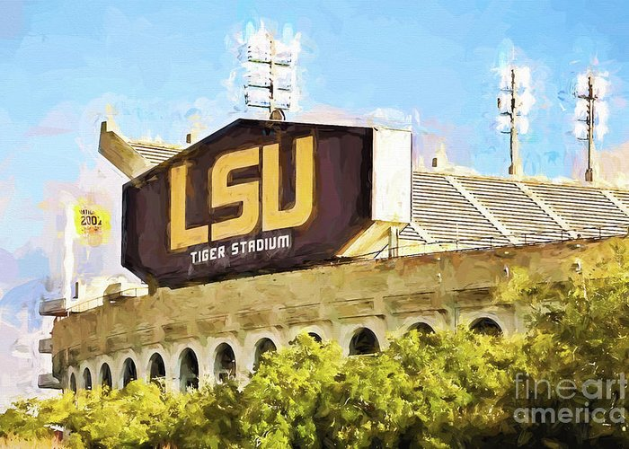 Lsu Greeting Card featuring the photograph Tiger Stadium by Scott Pellegrin