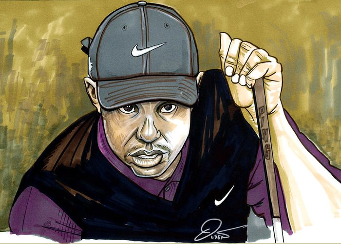 Tiger Woods Greeting Card featuring the drawing Tiger Woods by Dave Olsen