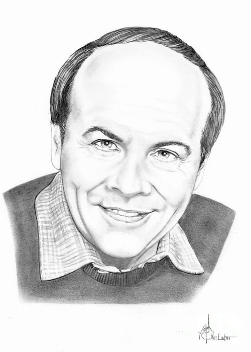 Pencil Greeting Card featuring the drawing Tim Conway by Murphy Elliott