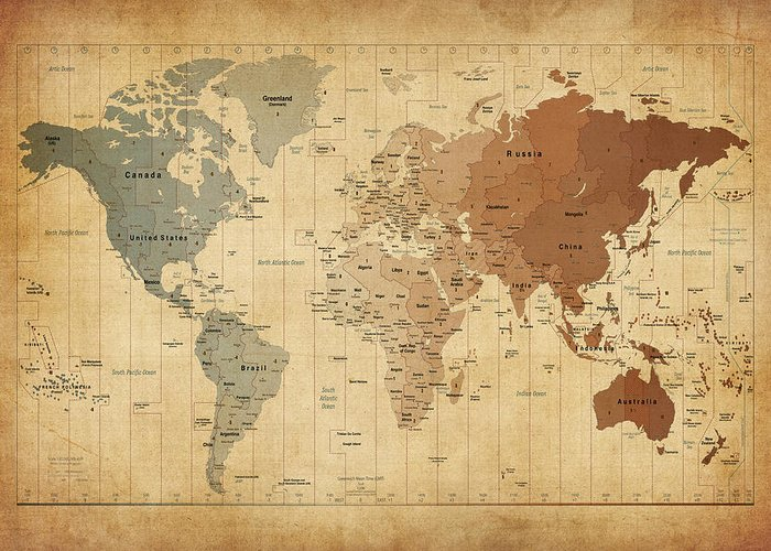 World Map Canvas Greeting Card featuring the digital art Time Zones Map Of The World by Michael Tompsett