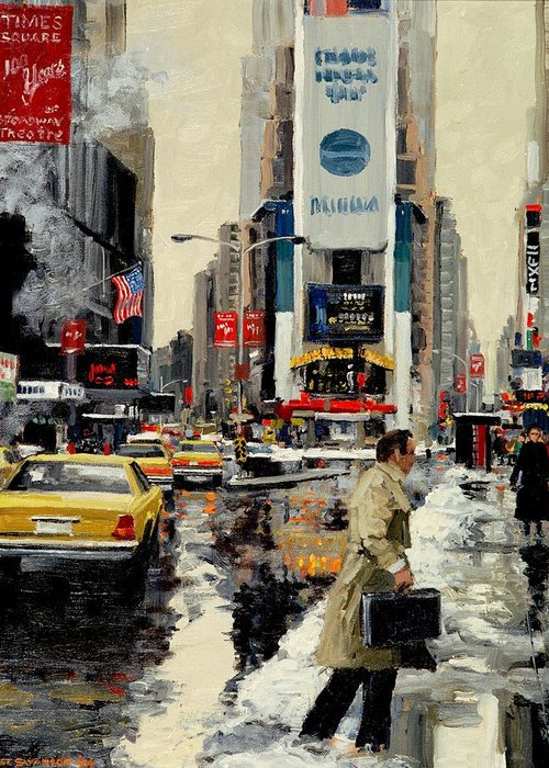 New York Greeting Card featuring the painting Times Square by Michael Swanson