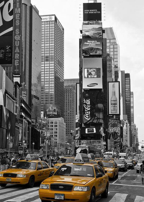 Manhattan Greeting Card featuring the photograph Times Square Nyc by Melanie Viola