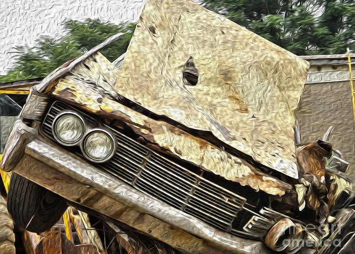 Car Greeting Card featuring the photograph Tired And Broken by Crystal Harman