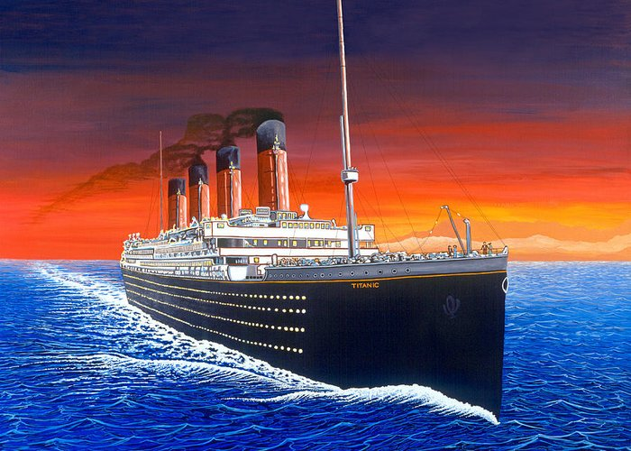 Titanic Greeting Card featuring the painting Titanic by David Linton