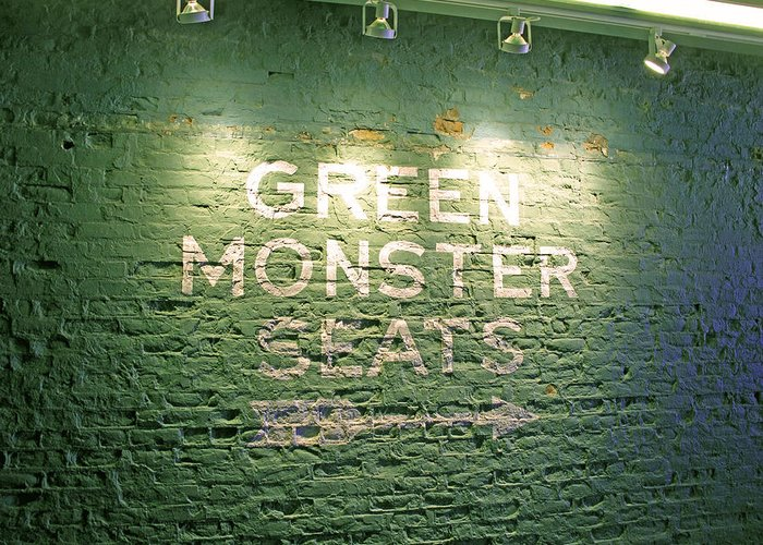 Sign Greeting Card featuring the photograph To The Green Monster Seats by Barbara McDevitt