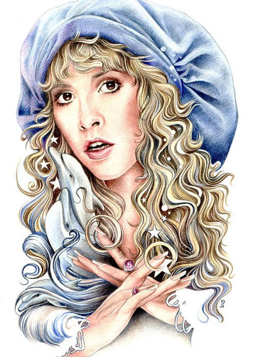 Stevie Nicks Greeting Card featuring the drawing To The Sea by Johanna Pieterman
