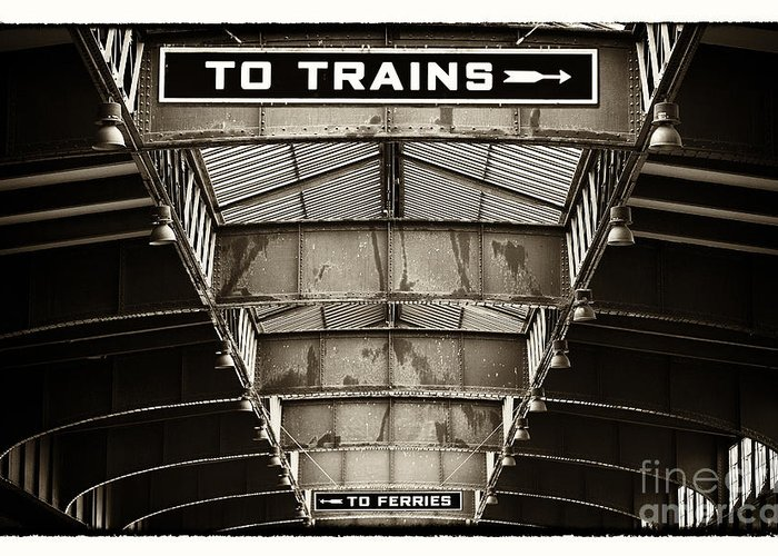 To Trains Greeting Card featuring the photograph To Trains by John Rizzuto