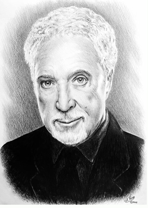 Tom Jones Greeting Card featuring the drawing Tom Jones by Andrew Read