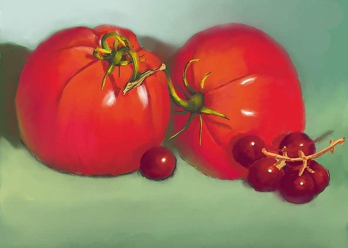 Tomatoes And Concord Grapes Greeting Card featuring the digital art Tomatoes And Concord Grapes by Dessie Durham