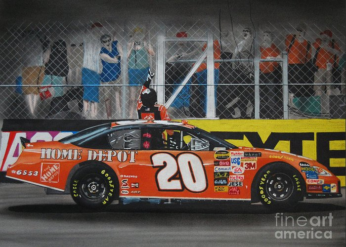 Car Greeting Card featuring the drawing Tony Stewart Climbs For The Checkered Flag by Paul Kuras