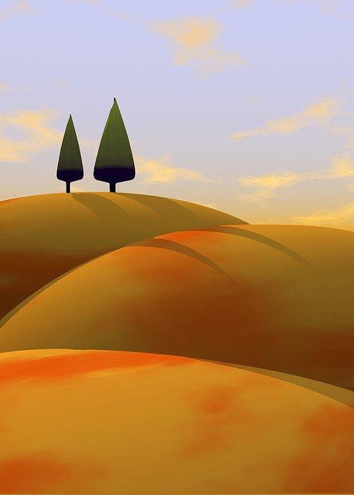 Hills Greeting Card featuring the digital art Toscana 1 by Cynthia Decker