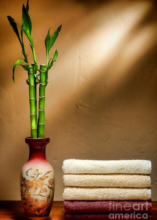 Towels Greeting Card featuring the photograph Towels And Bamboo by Olivier Le Queinec