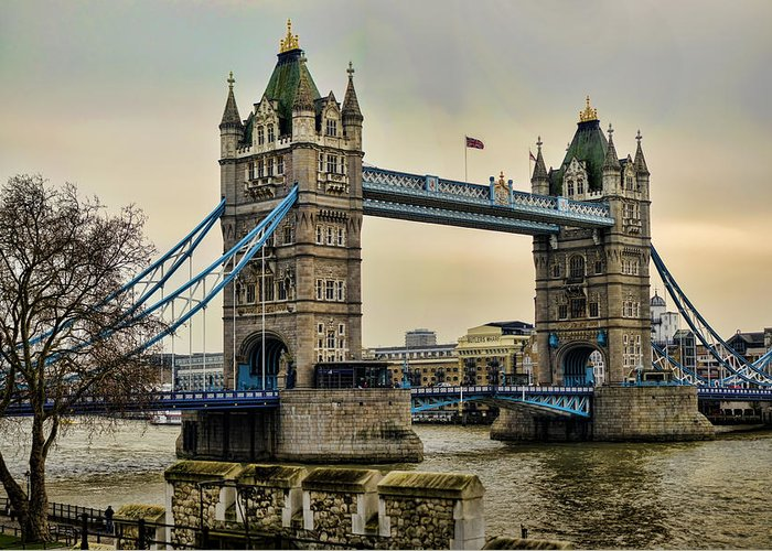 Tower Bridge Greeting Card featuring the photograph Tower Bridge On The River Thames by Heather Applegate