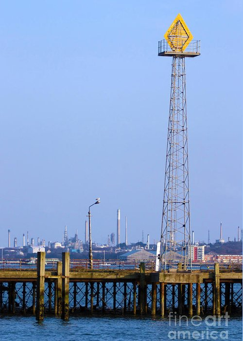 Southampton Greeting Card featuring the photograph Town Quay Navigation Marker And Fawley by Terri Waters