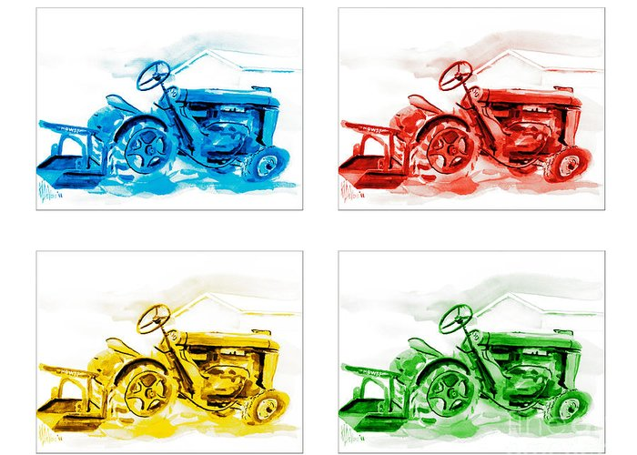 Tractor Mania Greeting Card featuring the painting Tractor Mania by Kip DeVore