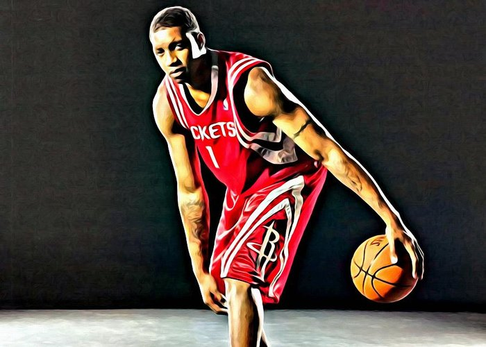 National Greeting Card featuring the painting Tracy Mcgrady Portrait by Florian Rodarte