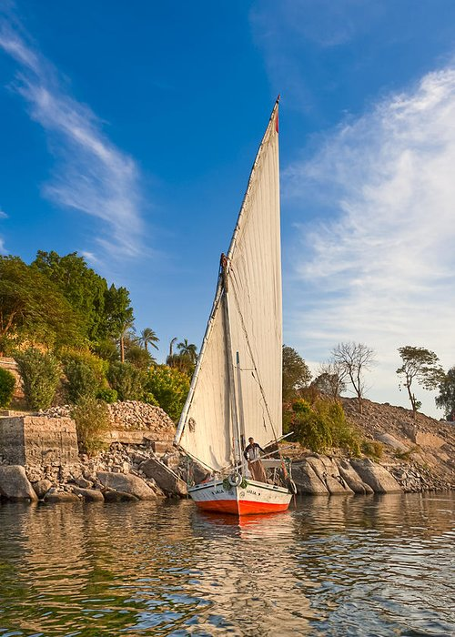 Egyptian Sailboat Greeting Card featuring the photograph Traditional Egyptian Sailboat On The Nile by Mark E Tisdale