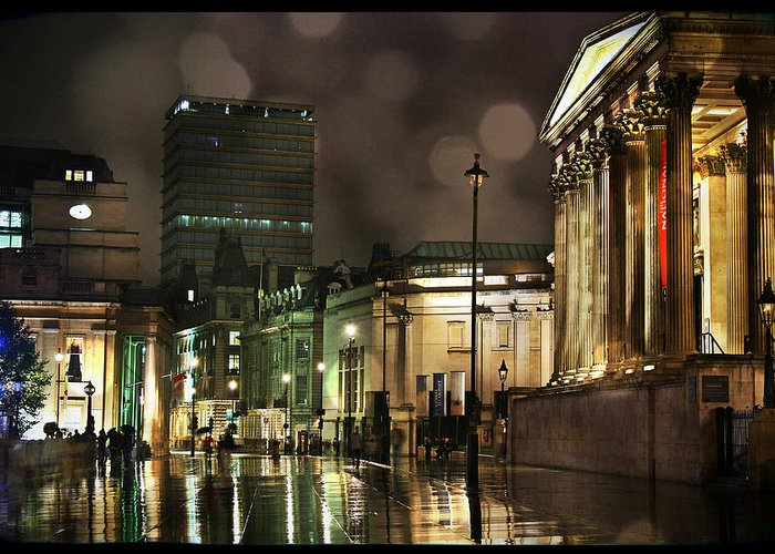 London Greeting Card featuring the photograph Trafalgar Square Rain by Heidi Hermes