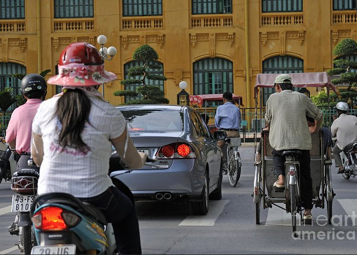 Hanoi Greeting Card featuring the photograph Traffic In Downtown Hanoi by Sami Sarkis