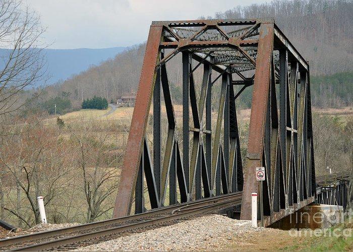 Trestle. Train Greeting Card featuring the photograph Train Bridge by Brenda Dorman