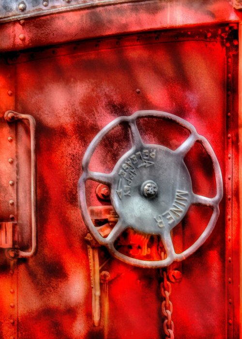 Savad Greeting Card featuring the photograph Train - Car - The Wheel by Mike Savad