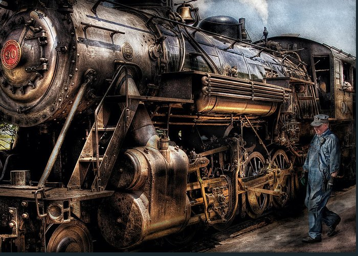 Savad Greeting Card featuring the photograph Train - Engine - Now Boarding by Mike Savad