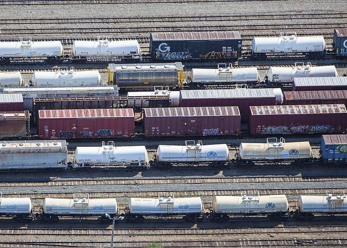 America Greeting Card featuring the photograph Train Wagons, South Portland by Dave Cleaveland