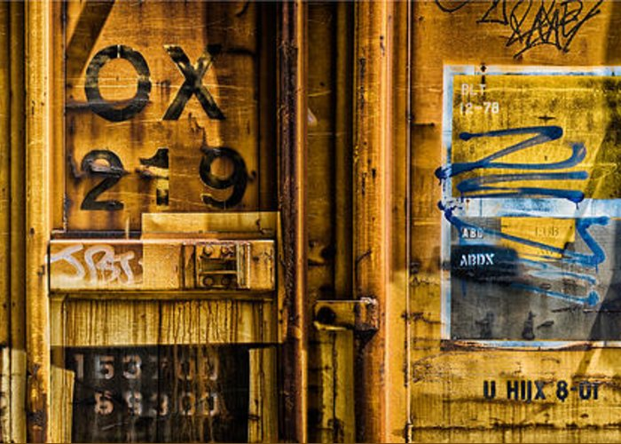 Abstract Greeting Card featuring the photograph Trainworks.83427 by Gary LaComa