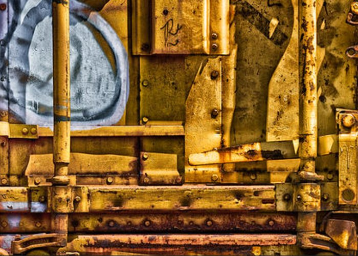 Abstract Greeting Card featuring the photograph Trainworks.83735 by Gary LaComa
