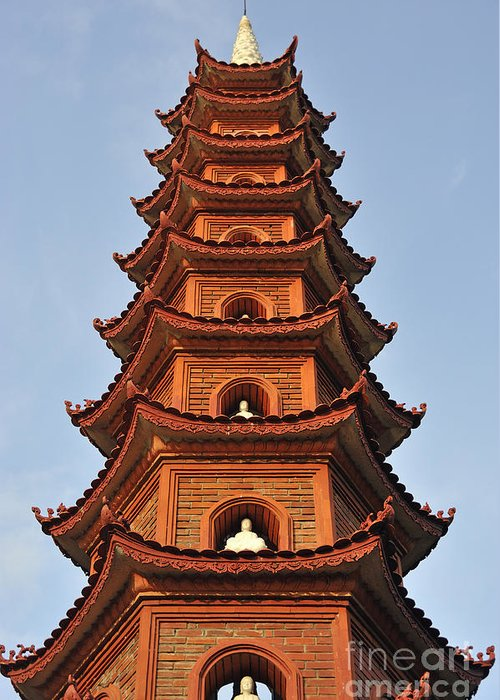 Tran Greeting Card featuring the photograph Tran Quoc Pagoda In Hanoi by Sami Sarkis