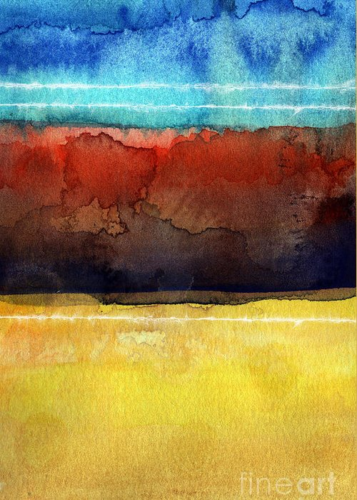 Abstract Greeting Card featuring the painting Traveling North by Linda Woods